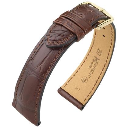 Hirsch London Louisiana Alligator Horlogebandje Mat Bruin