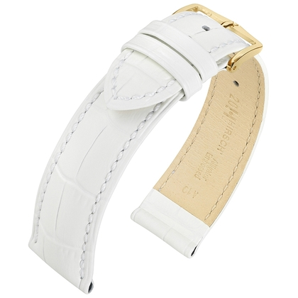Hirsch Louisianalook Alligatorprint Horlogebandje Wit