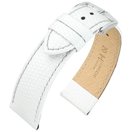 Hirsch Rainbow Horlogebandje Lizardgrain Wit
